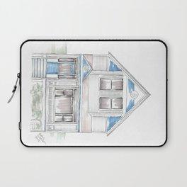 Blue Folk Victorian House Laptop Sleeve
