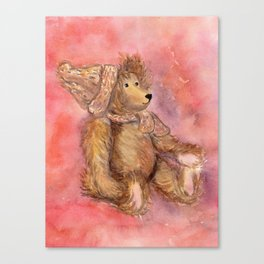 Teddy bear in cap and scarf Canvas Print
