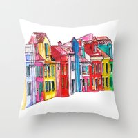 italy Throw Pillows featuring Italy by Dheiuk