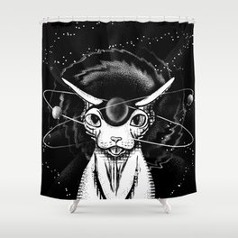 Cosmic vibes - Sphynx Cat - Black and White Shower Curtain