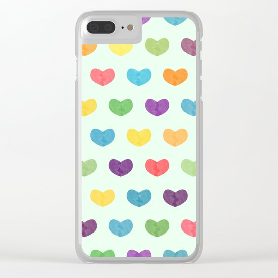 Colorful hearts Clear iPhone Case