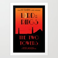 lotr Art Prints featuring LOTR The Two Towers Minimalist Poster by Sean Breeding Arthouse