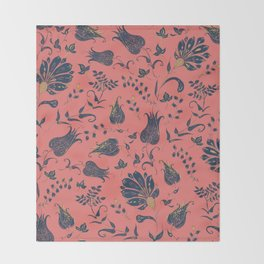 Paradise Florals - Coral & Blue Throw Blanket