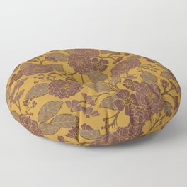 Mustard Yellow, Brown, Raisin, Taupe & Mauve Floral Pattern Floor Pillow