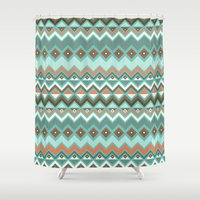 aztec Shower Curtains featuring Aztec by Priscila Peress