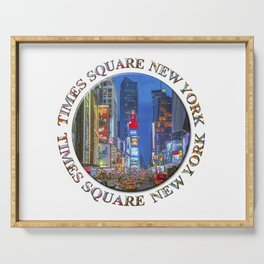 Times Square Broadway (New York Badge Emblem on white) Serving Tray