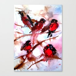Robins in the Snow Canvas Print