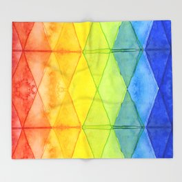 Geometrict Abstract Rainbow Watercolor Pattern Throw Blanket