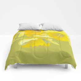 Sign of Spring - Yellow Narcissus on Spring Green Background #decor #society6 #buyart Comforters