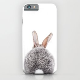 Bunny Tail, Grey Bunny Rabbit, Baby Animals Art Print By Synplus iPhone Case