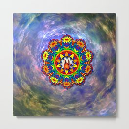 Jerry Hand in a Daisy Mandala Metal Print