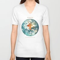 earth V-neck T-shirts featuring Earth by Terry Fan
