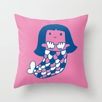 the little mermaid Throw Pillows featuring Little mermaid by tee and toast