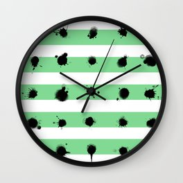 Dots and Stripes - green Wall Clock