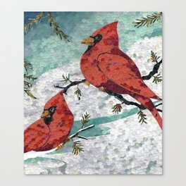 Cardinals In Winter Canvas Print