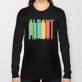 Retro 1970's Style Albany New York Skyline Long Sleeve T-shirt