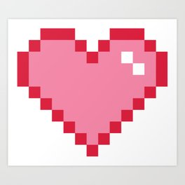 Pink Pixel Heart Love Art Print