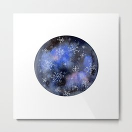 Watercolor Galaxy with Snowflakes Metal Print
