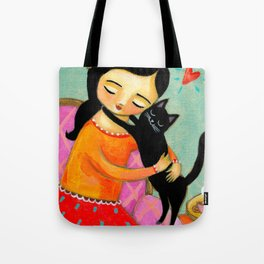 Black Cat Hug sweet painting by artist Tascha Tote Bag