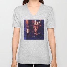Reflections In The Night Rain Unisex V-Neck