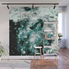 Minty Teal Sparkle Stars Wall Mural