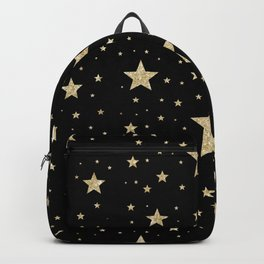 gold stars pattern black Backpack