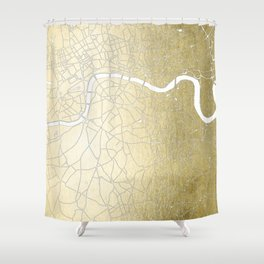 Gold on White London Street Map II Shower Curtain