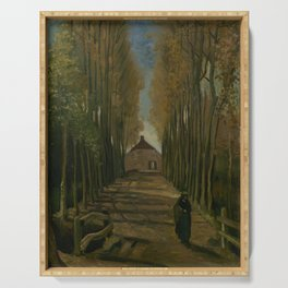 Avenue of Poplars in Autumn Serving Tray