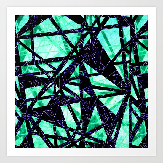 Fragment Gems (colourway green and purple) Art Print