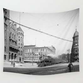 Empire State Express (New York Central Railroad) coming thru Washington Street, Syracuse, N.Y. Wall Tapestry