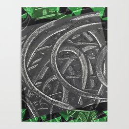 Junction - green/black graphic Poster