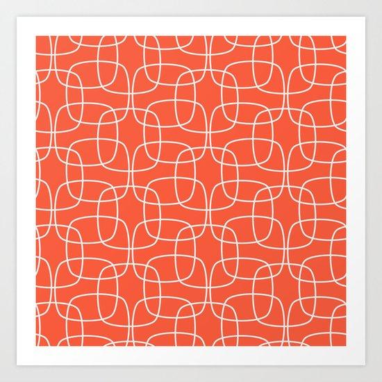 Square Pattern Flame Art Print