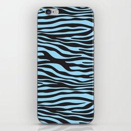 Animal Print, Zebra Stripes - Black Blue iPhone Skin