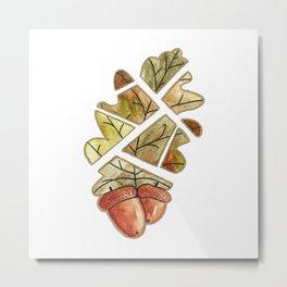 Oak leaf and acorns Metal Print