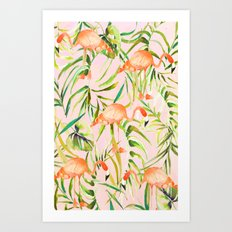 Sorbet Flamingo palms Art Print