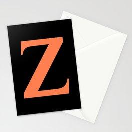 Z MONOGRAM (CORAL & BLACK) Stationery Cards