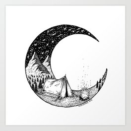 Camping on the moon Art Print