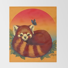 Red Panda Has Blue Butterfly Friend Throw Blanket