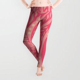 Hawaiian Polynesian Floral Pink Tattoo Design Leggings