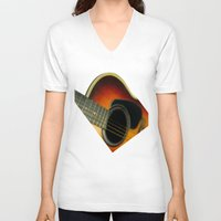 guitar V-neck T-shirts featuring Guitar by Bruce Stanfield