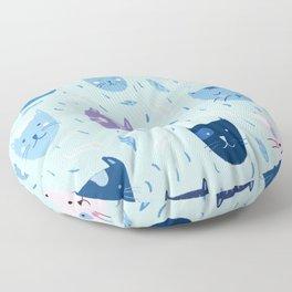 Little blue cats Floor Pillow