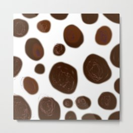 Wint. dots choco on white ethnic Metal Print