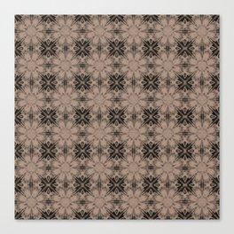 Warm Taupe Floral Geometric Canvas Print