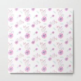 Pastel pink teal watercolor hand painted daisies floral Metal Print