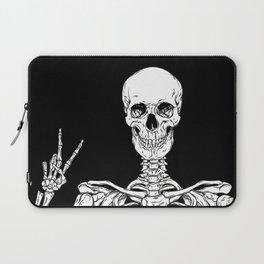 Human skeleton posing isolated over black background vector illustration Laptop Sleeve