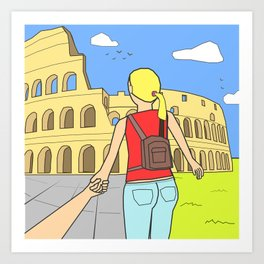 Follow me to Rome Art Print