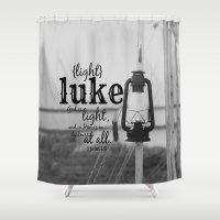 luke hemmings Shower Curtains featuring Luke by KimberosePhotography