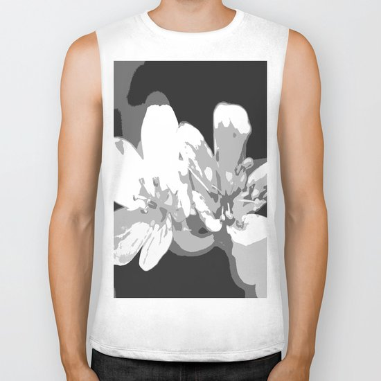 Retro Flowers in Black and White Biker Tank