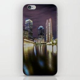 Boston skyline reflection at night iPhone Skin