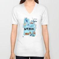 utah V-neck T-shirts featuring UTAH by Christiane Engel